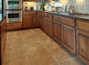 Kitchen with tile flooring