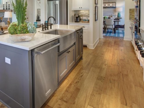 Kitchen with wood plank flooring