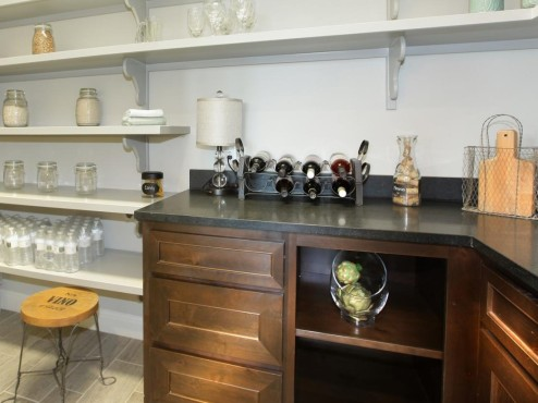 Pantry shelving with countertop and wine rack