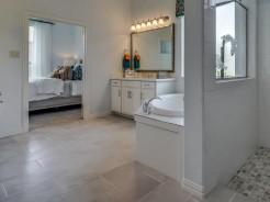 Tile flooring in bathroom