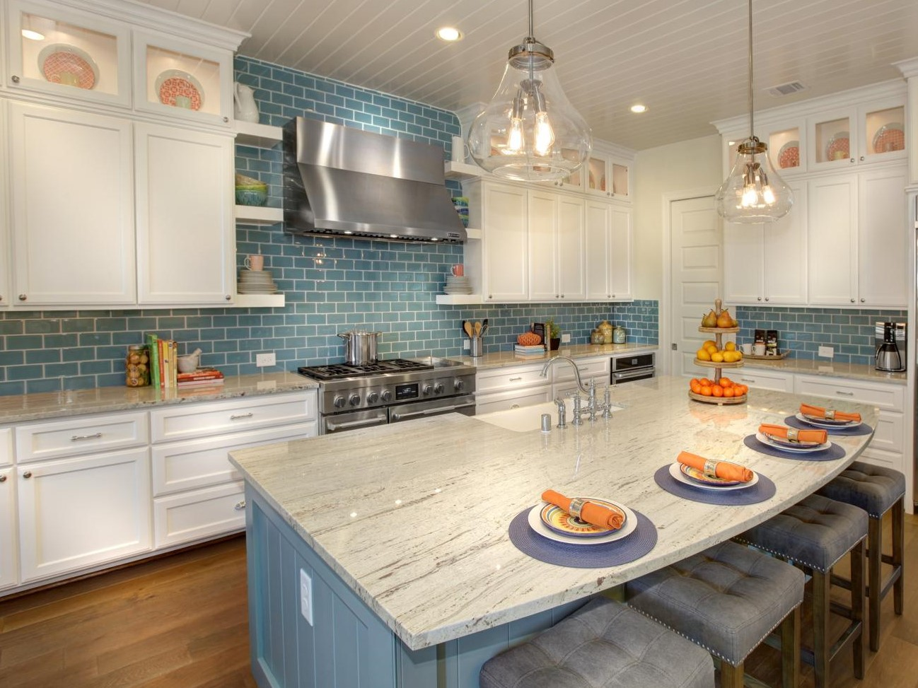 White-kitchen-cabinets-with-blue-subway-tile-backsplash